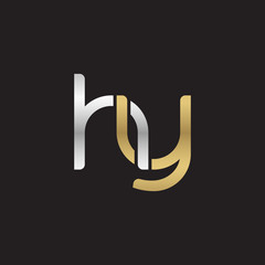 Initial lowercase letter hy, linked overlapping circle chain shape logo, silver gold colors on black background