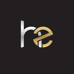 Initial lowercase letter hz, linked overlapping circle chain shape logo, silver gold colors on black background