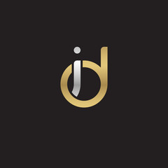 Initial lowercase letter id, linked overlapping circle chain shape logo, silver gold colors on black background