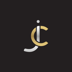 Initial lowercase letter jc, linked overlapping circle chain shape logo, silver gold colors on black background