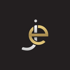 Initial lowercase letter je, ej, linked overlapping circle chain shape logo, silver gold colors on black background