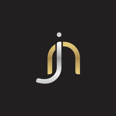 Initial lowercase letter jn, linked overlapping circle chain shape logo, silver gold colors on black background