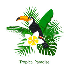 tropical foliage leaf flower arrangement with toco toucan