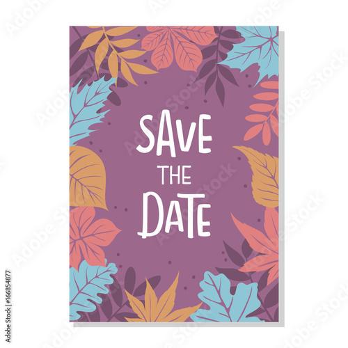 autumn fall leaves foliage border save the date wedding invitation