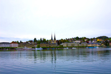 Panoramic aerial view of Lucerne in a cloudy summer day