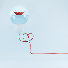 Red boat in light bulb leadership concept, strategy, mission, objectives, Flat style.  minimal concept idea.