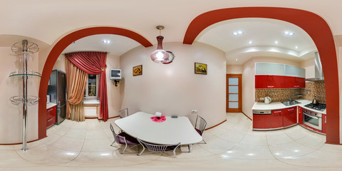 Panorama in interior stylish kitchen in modern flat in red color. Full 360 degree seamless panorama in equirectangular equidistant spherical projection