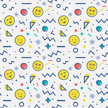 Seamless pattern with emoji in memphis style.