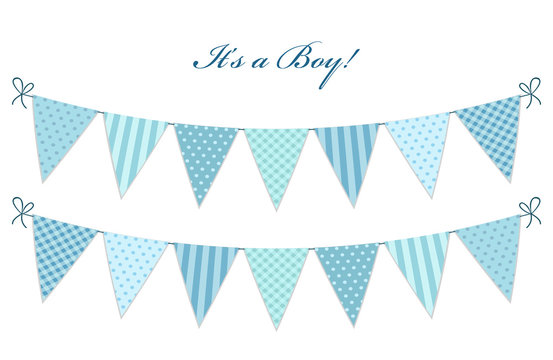 Cute vintage textile blue shabby chic bunting flags