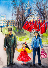 Korean young family: daughter in a national Korean dress. Pyongyang, North Korea, Pyongyang attractions, the hotel is a skyscraper in the form of a rocket. watercolor painting.