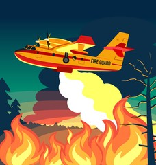 Wildfire firefighter plane or fire aircraft jet extinguish fire, poster or banner vector illustration