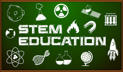 STEM education poster with icons on board