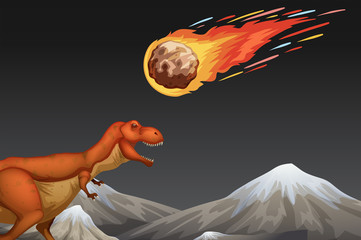Dinosaur and meteror crashing earth
