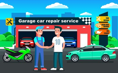 Car repair service in garage outdoor view with client meeting & handshake