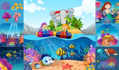Ocean scenes with children and sea animals