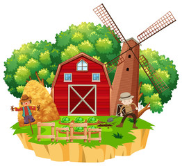 Farm scene with farmer planting vegetables