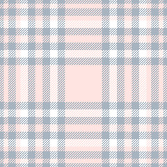 Seamless tartan plaid pattern. Traditional checker texture in bluish gray, white and pale reddish pink.