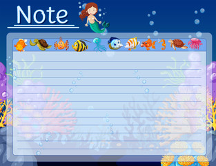 Paper template with fish and mermaid underwater