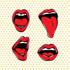 Vector Woman Lips Kiss Set