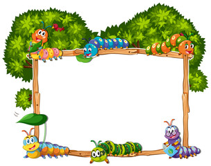 Frame template with caterpillar and tree