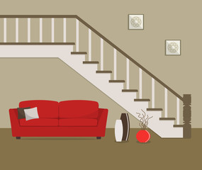 Red sofa, located under the stairs. There is also a big vases with decorative branches and pictures in the image. Vector flat illustration.