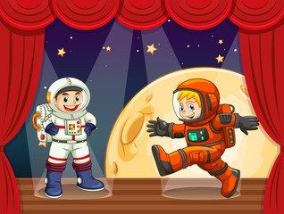 Two astronauts walking on stage