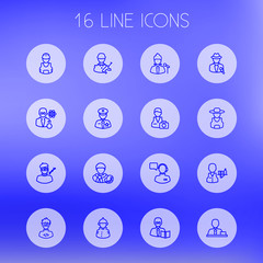 Set Of 16 Job Outline Icons Set.Collection Of Singer, Manager, Designer And Other Elements.