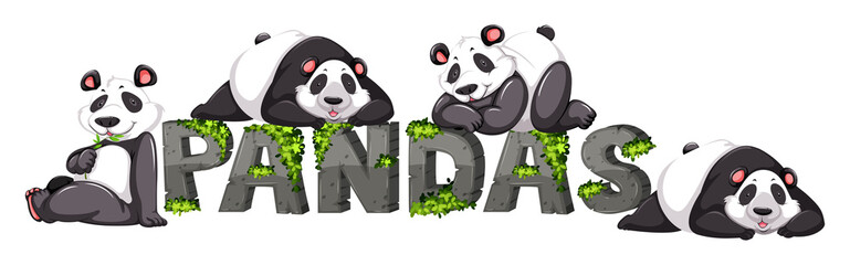 Four pandas by the zoo sign