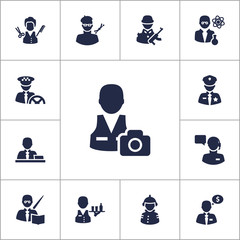 Set Of 13 Position Icons Set.Collection Of Manager, Stylist, Cameraman And Other Elements.