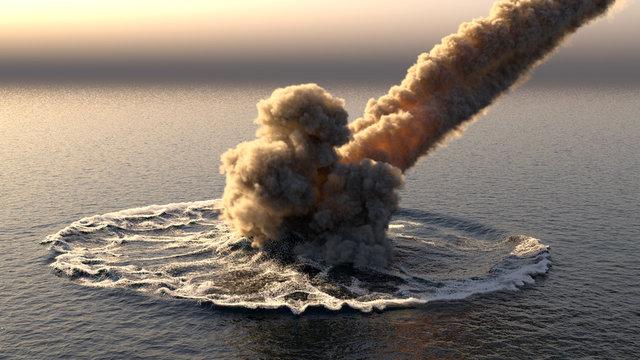 Meteorite falls into the ocean 3d illustration