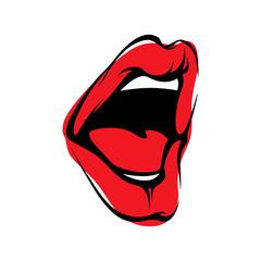 Vector Lips Kiss Icon Illustration