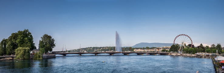Large panoramic view of Mont Blanc bridge on  Geneva Lake. Switzerland.