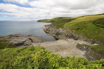 The view from Lansallos beach to Pencarrow head