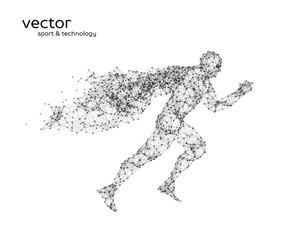 Abstract vector illustration of running superman.