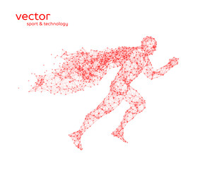 Abstract vector illustration of running superman.