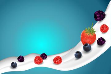 Mix berry with milk splash