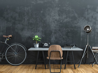 Black room decorated in vintage style.