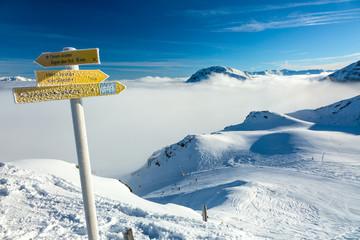 Road Sign on the Ski Piste in Austrian Alps