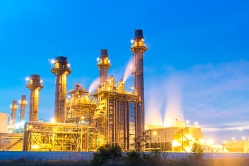 Oil refinery, petroleum and energy plant at twilight with sky background.  Industry Concept
