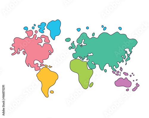 World map cartoon continents in different colors stock image and world map cartoon continents in different colors gumiabroncs Images