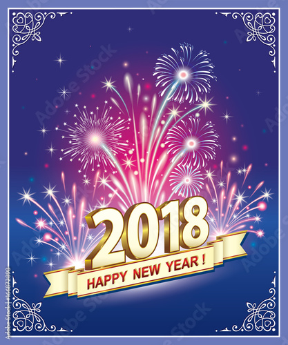 happy new year 2018 postcard with fireworks on a blue background