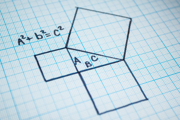 Pythagorean theorem. A mathematical example with a triangle pattern.