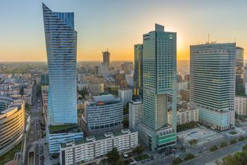 Obraz Centrum Warszawy o zachodzie słońca - fototapety do salonu