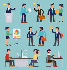 Nine Illustrations of Cartoon Character Successful Businessmen