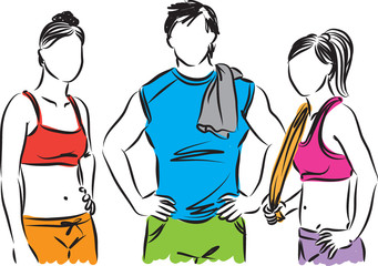 fitness people man and women illustration