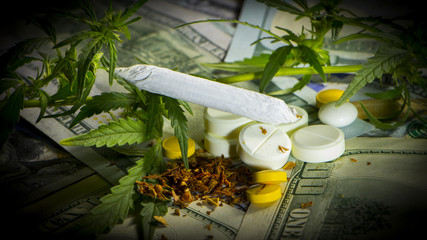 Money With Marijuana Leaf pills Close Up High Quality