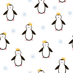 Cute penguin with golden crown seamless pattern. Vector hand drawn illustartion.