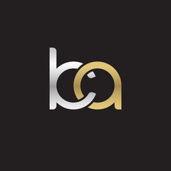 Initial lowercase letter ka, linked overlapping circle chain shape logo, silver gold colors on black background