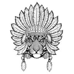 Wild tiger Wild animal wearing indiat hat with feathers Boho style vintage engraving illustration Image for tattoo, logo, badge, emblem, poster