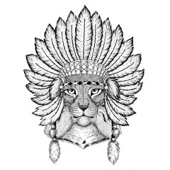 Wild cat Lynx Bobcat Trot Wild animal wearing indiat hat with feathers Boho style vintage engraving illustration Image for tattoo, logo, badge, emblem, poster